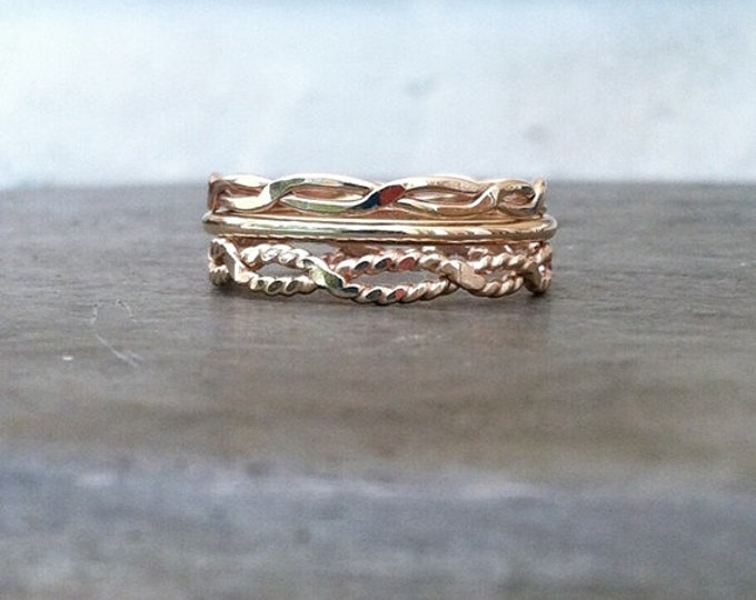 The Infinity Twist, Stack of three 14k gold filled rings