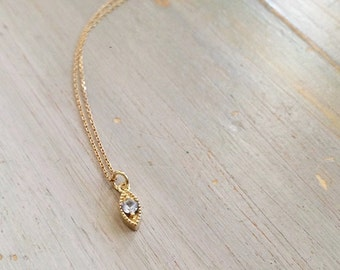 Solid 14k Gold, Milgrain, Marquise, Evil Eye pendant with Aquamarine stone