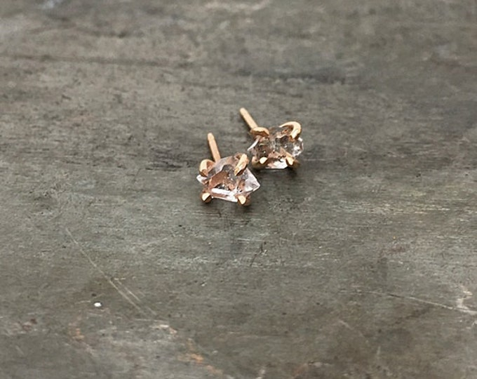 Herkimer Diamond Claw Studs, 14k gold or gold filled, genuine herkimer