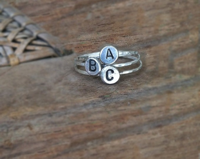MOTHER'S DAY: Initial Rings, Sterling Silver, Personalized Hand Stamped Disc, Hammered Stacking Ring, Set of 3, Upper Case Initial
