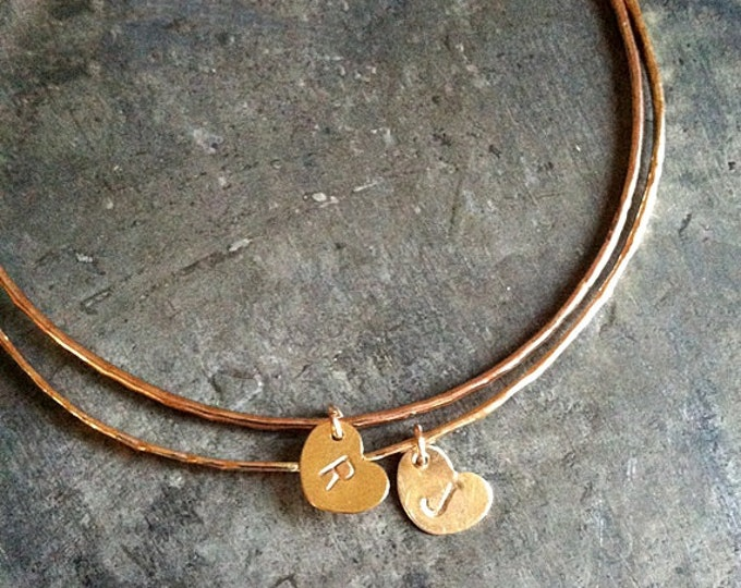 Personalized 14k Gold filled Bangle, 14k gold filled heart charm, Initial Stamping, Listing is for one (1) bangle