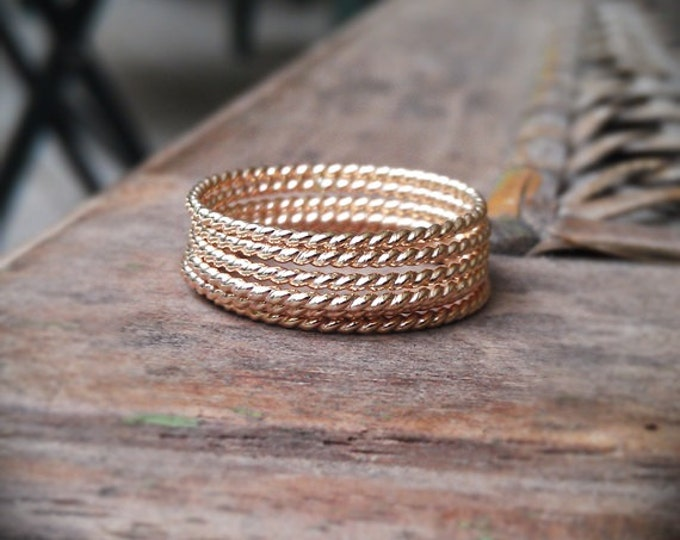Stackable Gold Rings- 14k gold filled twist set of 6