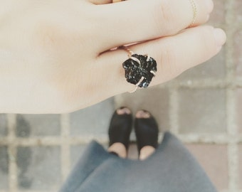 14K Gold filled OR Solid gold, Brazilian Black Tourmaline, Handmade claw solitare ring