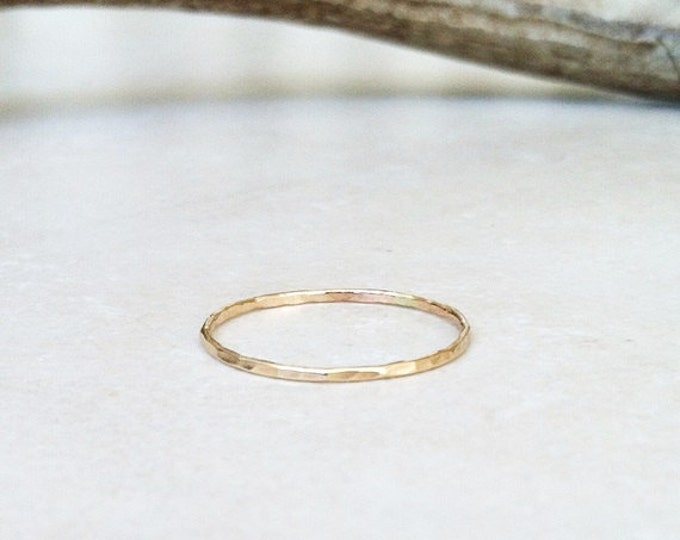 MOTHER'S DAY gift, ONE 14K Solid Gold Hammered Stacking Ring