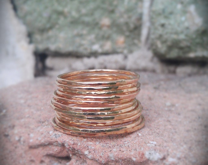 Hammered Stack Rings- 14k Gold filled- Set of 12 hammered skinny rings