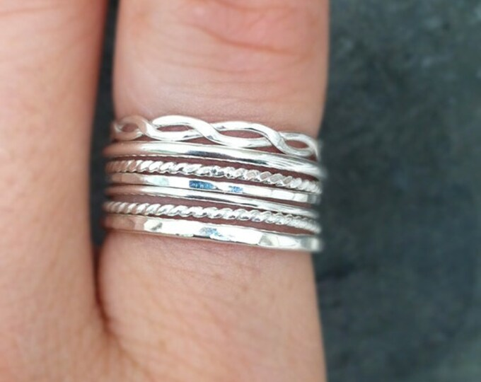 Stackrings, mix of 7 textured sterling silver rings, handmade