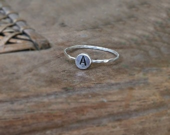 Initial Ring, Sterling Silver, Personalized Hand Stamped Disc, Hammered Stacking Ring, Upper Case Initial
