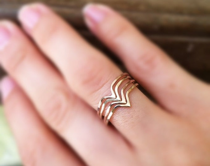 Hammered Chevron Rings, 14k gold filled, stack of 4