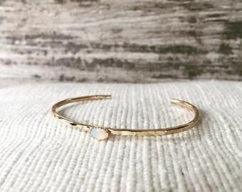 Genuine Opal Cuff bracelet, gold, gold filled, silver