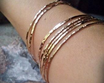 Hammered Gold Bangles, 14k Gold Filled stack of 7