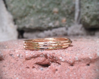 Hammered Stack Rings- 14k Gold filled set of 3 hammered rings