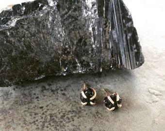 VALENTINES DAY, Black Tourmaline Claw Studs, 14k Gold filled