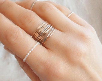 Dainty Seed Pearl Stacking Ring, Freshwater Pearl, Mermaid Ring