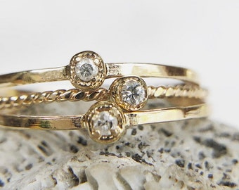 Super Dainty Diamond Stackers, 14K Solid Gold, ONE ring