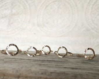 Hammered Circle Ring, Open Circle, 14k gold, gold filled and sterling. ONE ring