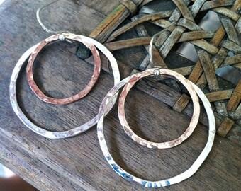 Hammered Hoop Earrings, 14k Rose Gold and Sterling Silver
