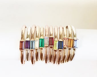 Mother's Day, Birthstone Baguette Rings