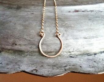 Horseshoe Necklace, 14k Gold Filled