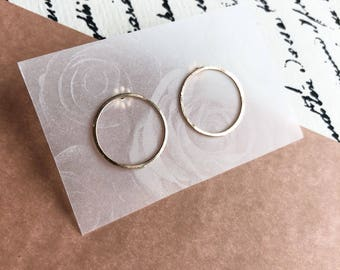 MOTHER'S DAY GIFT, Hoop studs, minimal earrrings, gold, rose gold and sterling
