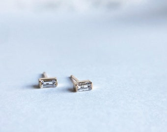 Dainty White Sapphire Baguette Studs, 14K, 4x2mm, Genuine White Sapphire, Solid Gold