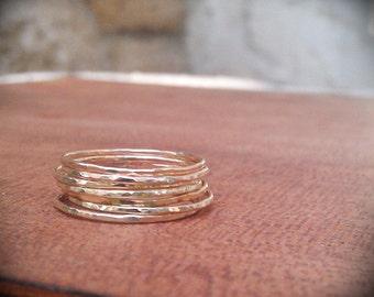 Hammered Gold Stack Rings- 14k Gold filled set of 7 hammered rings