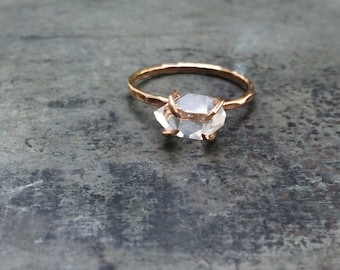 Herkimer Diamond, Non Traditional Engagement, Handcrafted Claw Ring, 14k Gold filled OR Solid Gold
