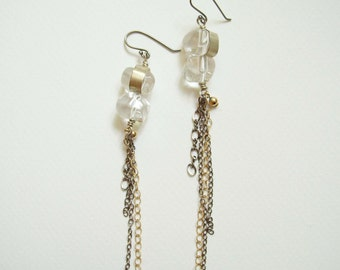 Gold and silver rock crystal chain earrings