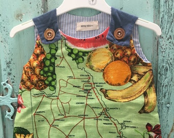 Upcycled Teatowel Girls Dress - Map of Queensland Scene
