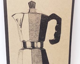 Espresso Coffee Maker Notecard- Grocery Bag Brown