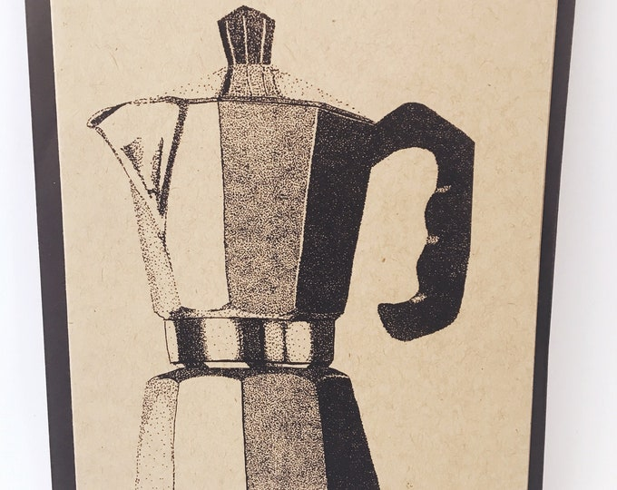 Featured listing image: Espresso Coffee Maker Notecard- Grocery Bag Brown