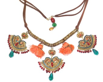 Boho Assemblage Necklace with Leather Straps, Beaded Metal Pendants and Tassels