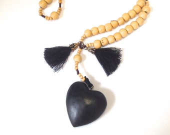 Assemblage Necklace with Black Wooden Heart and Tassels