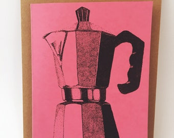 Espresso Coffee Maker Notecard- Coral