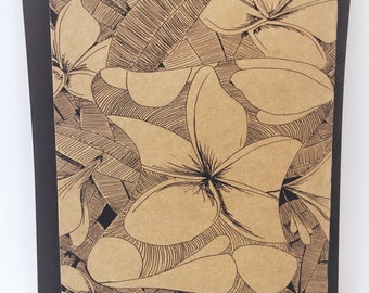 Frangipani Notecard - Grocery Bag Brown