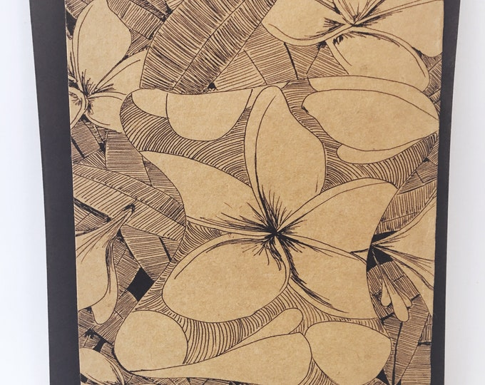 Featured listing image: Frangipani Notecard - Grocery Bag Brown