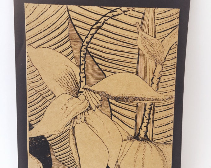 Featured listing image: Banana Blossom Notecard- Grocery Bag Brown