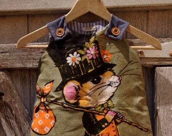 Upcycled Teatowel Girls Dress - Vintage Mouse Print