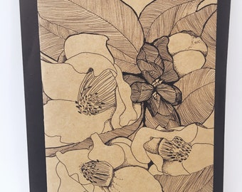 Camelia Notecard - Grocery Bag Brown