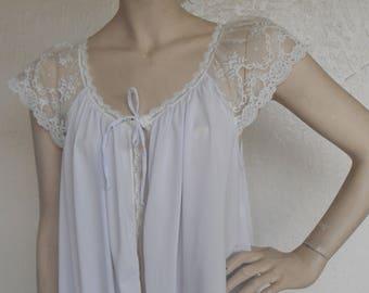 Vintage Nylon Robe Shadowline Size Medium Housecoat Dressing Gown Pruple