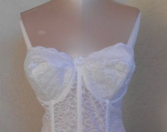 0400dd072 Goddess Lace Corset Bustier White 36DD Longline with Garters Wedding Bridal  Formal