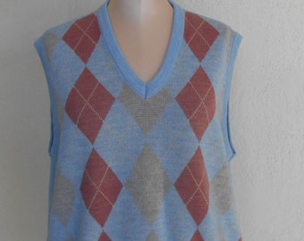 Sweater Vest Knit Argyle Men's Large Vintage SporThomson Blue