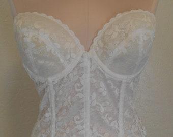 9c0f4df6699fe Vintage Bustier Bra Lace Longline Strapless JC Penney 36C Wedding Corset  White Bridal