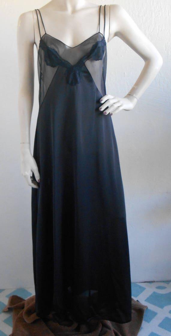 Usps Return Label >> Vintage Black Negligee Nightgown Kayser Medium Sheer Bodice