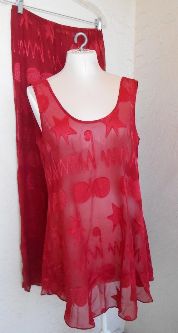 Sheer Red| Pajamas Vintage Victoria's Secret Loung