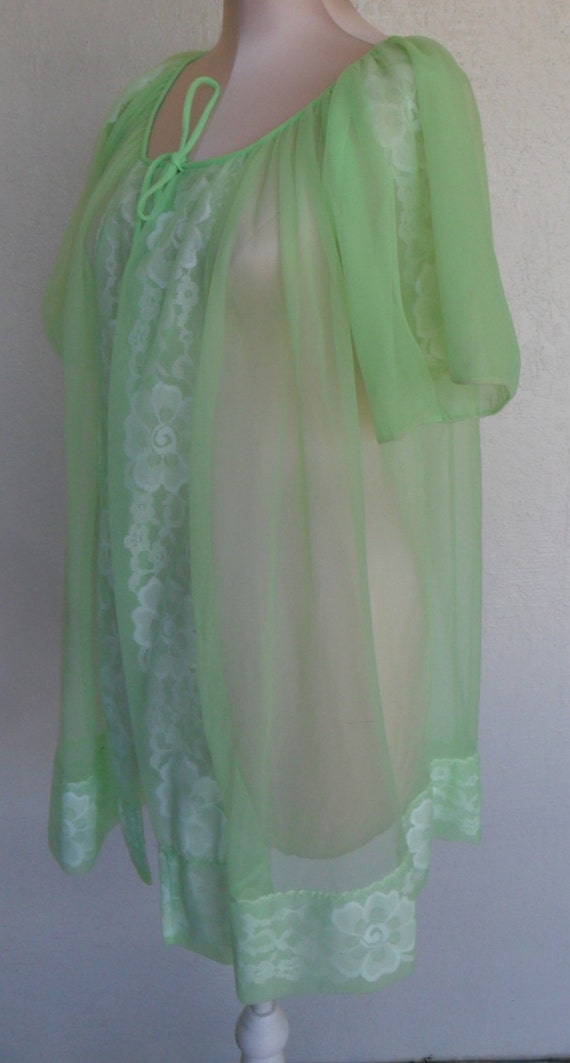 Vintage Sheer Robe Dressing Gown Lime Green Chiffon Shadow   Etsy