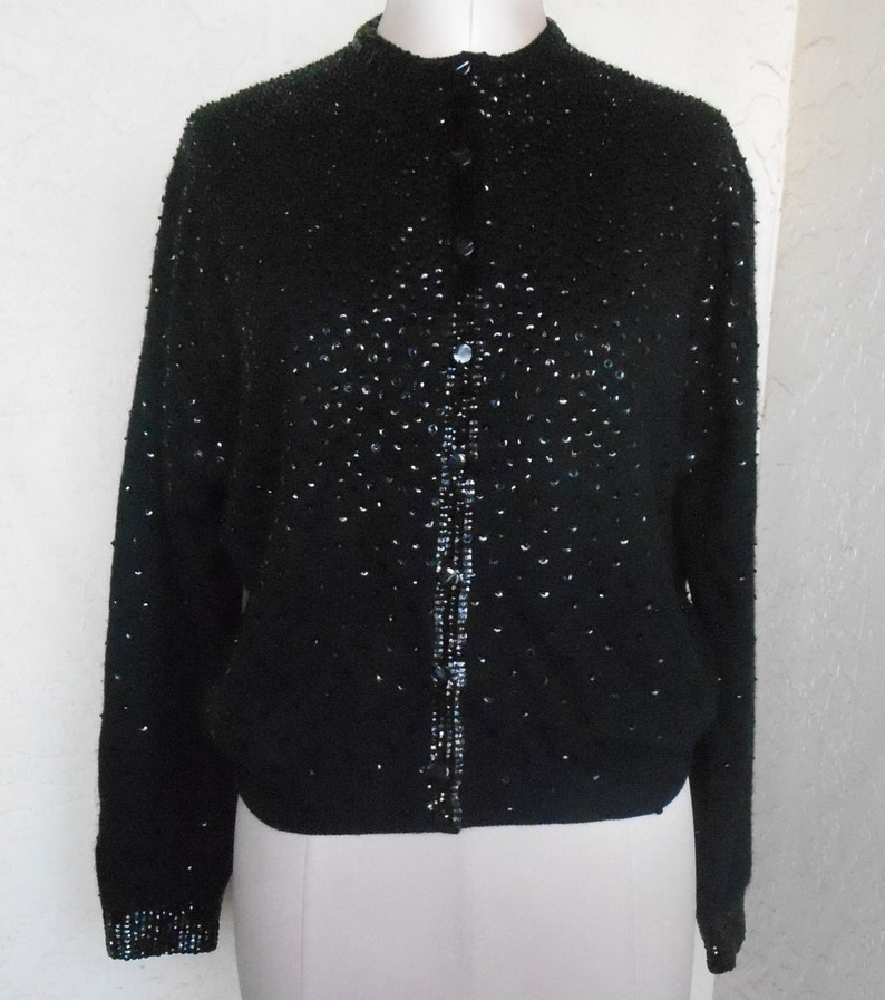 Cardigan Vintage Sequin Sweater by Royal Scott Size 42 Black Formal New Year Holiday Sparkly Cashmere