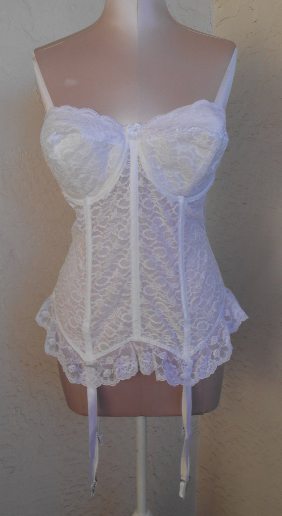 ea32b06275441 Goddess Lace Corset Bustier White 36DD Longline with Garters