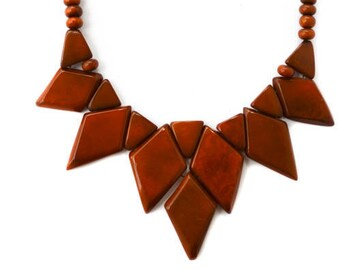 Caramel Natural Tagua Geometric Necklace and Earrings