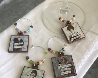 Wine glass charms Set of 4 - Party favor hostess gift place settings event decor sassy diva funny girlfriend hostess housewarming