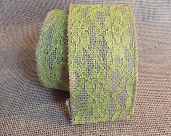"""Yellow lace and Burlap Ribbon 2.5"""" x 10 ft"""